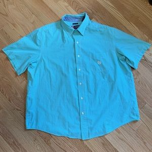 Chaps Blue Gingham Short Sleeve Button Down A4